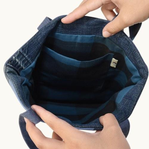 世界地球日-牛仔布拼手提包