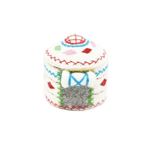 白色宮殿圖騰氈房置物盒(小)