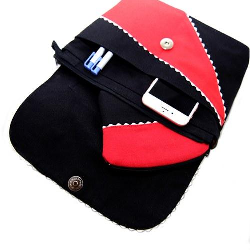 【尋找‧愛】拼接手提包-紅黑色
