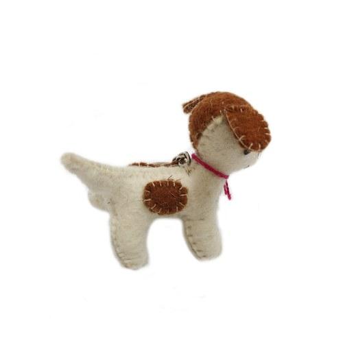 斑點小犬鑰匙圈-棕白