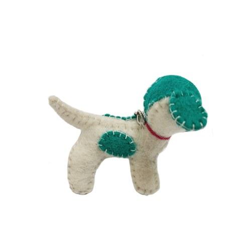 斑點小犬鑰匙圈-綠白