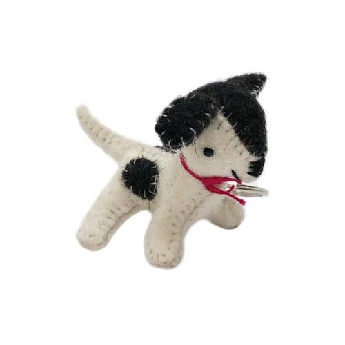 斑點小犬鑰匙圈-黑白