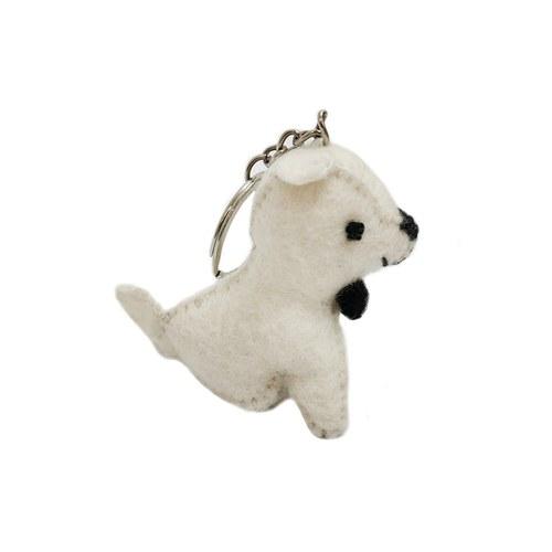 小白狗鑰匙圈-黑領結