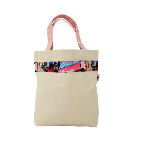 我的家庭真可愛環保提袋(加大款)-嫩粉色