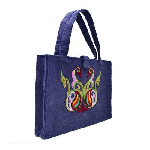 羊毛氈方形手提包-黛藍色