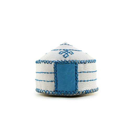 【蒙古傳統】軟軟皮蒙古包鑰匙圈-雲白