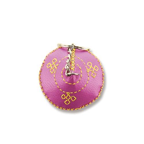 【蒙古傳統】軟軟皮蒙古包鑰匙圈-嫩粉紅