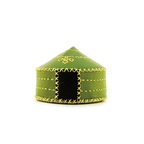 【蒙古傳統】軟軟皮蒙古包鑰匙圈-草原綠