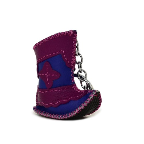 【蒙古傳統】奔跑大草原皮靴鑰匙圈-葡萄紫