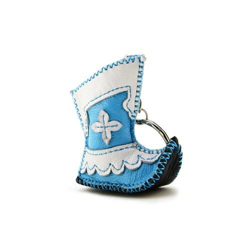 【蒙古傳統】奔跑大草原皮靴鑰匙圈-天空藍