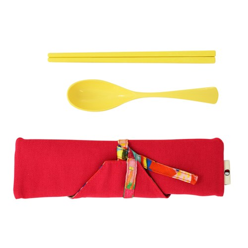 我的家庭真可愛筷套-桃紅色(附環保餐具二件組)