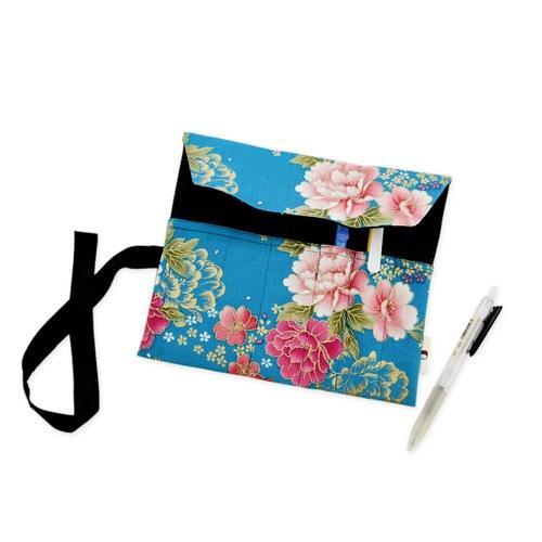 【雅緻花布藍】捲捲筆袋