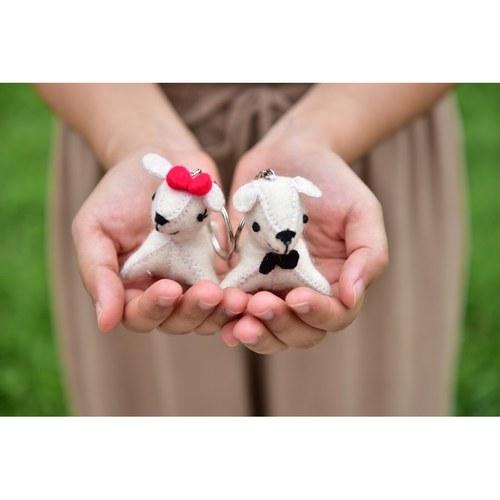 小白狗鑰匙圈-甜蜜組合