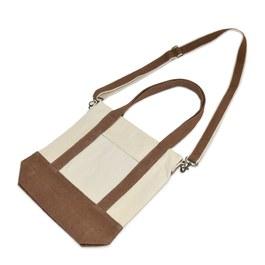 水洗帆布斜背包-咖啡色