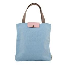 撞色手提袋-Baby blue