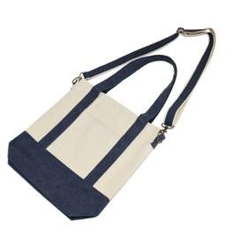 水洗帆布斜背包-藍莓色
