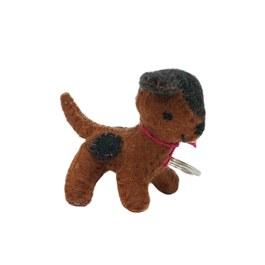 斑點小犬鑰匙圈-黑棕