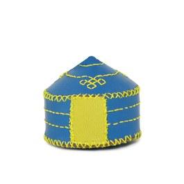 【蒙古傳統】軟軟皮蒙古包鑰匙圈-天空藍
