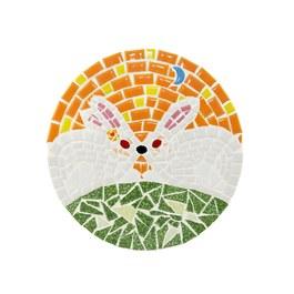 馬賽克拼貼隔熱墊-親親小白兔(現貨2個,賣完為止)