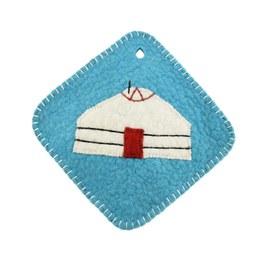 揉揉暖暖羊毛氈隔熱墊-水藍