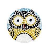 馬賽克拼貼小圓椅-大眼貓頭鷹