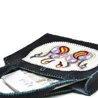 羊毛氈方形手提包-墨黑色