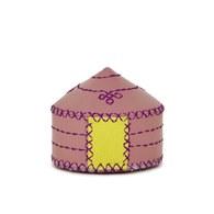 【蒙古傳統】軟軟皮蒙古包鑰匙圈-櫻花粉
