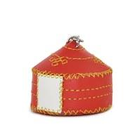 【蒙古傳統】軟軟皮蒙古包鑰匙圈-珊瑚紅