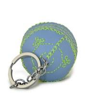 【蒙古傳統】軟軟皮蒙古包鑰匙圈-薄荷藍