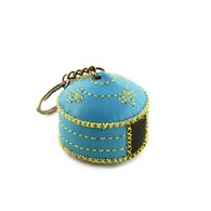 【蒙古傳統】軟軟皮蒙古包鑰匙圈-湖藍色
