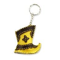 【蒙古傳統】奔跑大草原皮靴鑰匙圈-杏黃