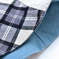 菱格紋雙面漁夫帽-灰藍色