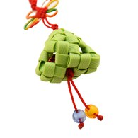 台灣特色-彩粽籐編織吊飾-青綠色