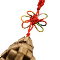 台灣特色彩粽籐編織吊飾-金棕色
