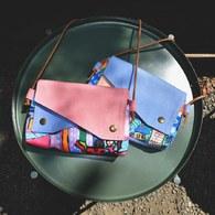 我的家庭真可愛雙蓋側背小包-粉色